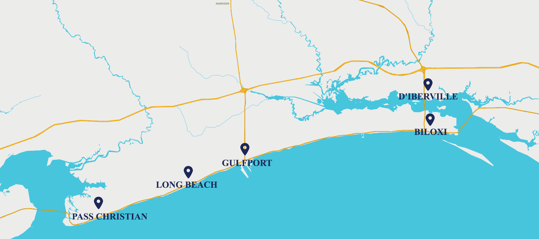 This is a map of Harrison County, Mississippi showing the location of the five cities: Pass Christian, Long Beach, Gulfport, Biloxi and D'Iberville.